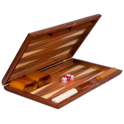 Backgammon Board Game Set Inlaid Wood Case 17''