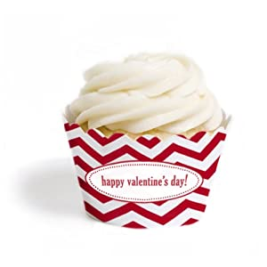 Dress My Cupcake Personalized Message Cupcake Wrappers, Chevron, Happy Valentine's Day, Set of 12