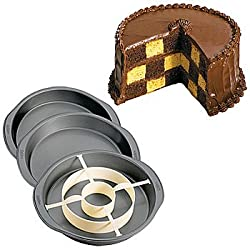 Checkerboard Cake Pan: Non-Stick Steel Pans with Oversized Handles and Ring