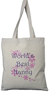 World's Best Nanny - Natural Cotton Shoulder Bag - Grandparent's Day Gift