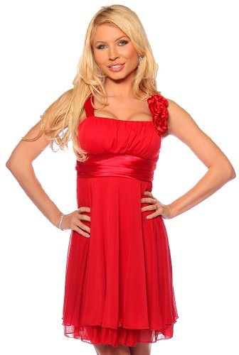 Designer Strap Floral Empire Evening Prom Party Womens Dress, Large, Red Hot Carnation
