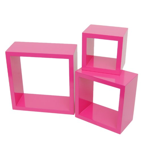 3er Set Lounge Cube Regal Design Retro 70er Wandregal Hängeregal in Pink
