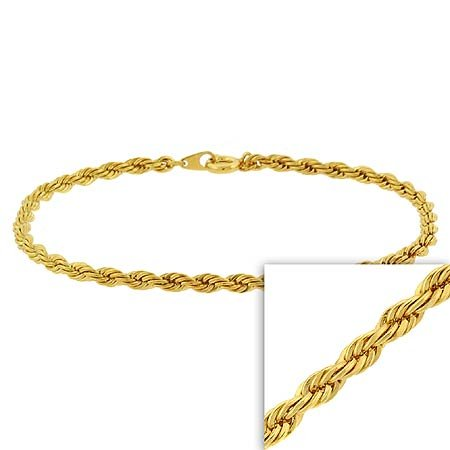 14k Gold Overlay Brass Twist Link Chain Bracelet