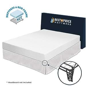 """Amazon Queen 8"""" Memory Foam Mattress Bed Frame set"""