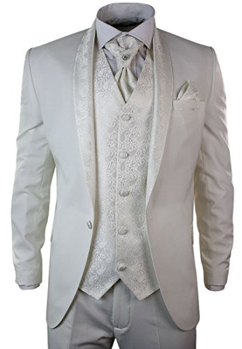 Tru clothing mens party suit tuxedo 5 piece diamonte trim for Mens ivory dress shirt wedding
