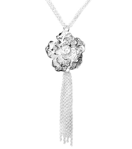 925 Sterling Silver Toned Chain Rosette Flower Necklace
