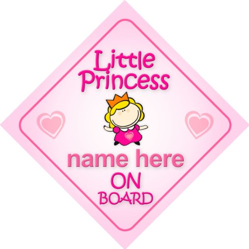 Little Princess On Board Personalised Car Sign New Baby Girl / Child Gift / Present By Mybabyonboard Uk