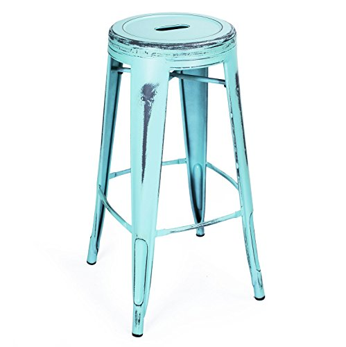 Adeco 30-inch Metal Stools, Vintage Barstool, Antique Light Blue, set of 2 5