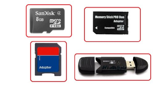 SanDisk 8 GB Combo 8 GB Micro sd Sony Pro Duo Adapter, sd Adapter, USB Card Reader PSP 8 GB 8 G Memory Stick PRO Duo for PSP, Camera, Phone, Photo Frame, MicroSD + Adapter 8 GB Micro SDHC