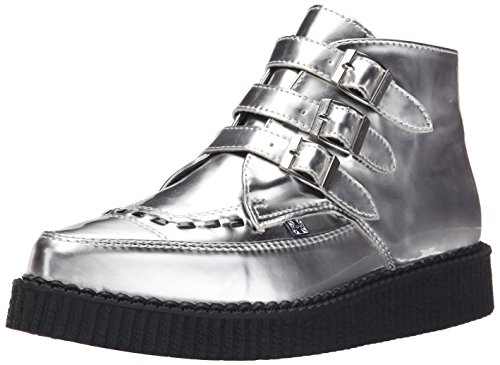 T.U.K.. Women's Metallic Pointed Toe Buckle Creeper, Silver, 9 M US