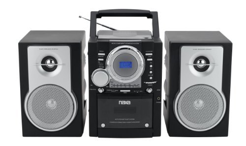 NAXA Electronics NPB-425 Portable MP3/CD Player with AM/FM Stereo Radio Cassette Player/Recorder, Twin Detachable Speakers and Remote Control
