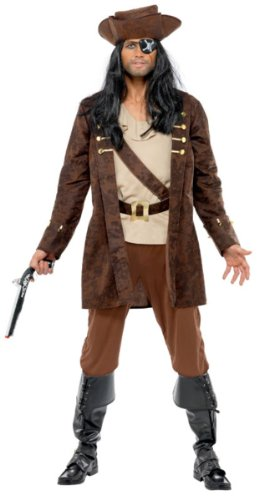 Smiffy's Men's Buccaneer Costume Coat Shirt Trousers and Hat