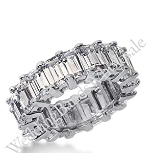 18k Gold Diamond Eternity Wedding Bands, Common Prong Setting 9.50 ct. DEB20418K - Size 10