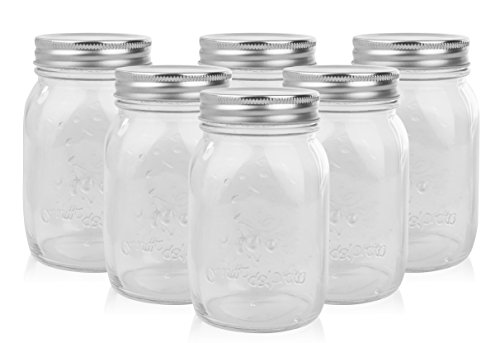 Golden Spoon Mason Jars, With Regular Lids, and Lids for Drinking, (Set of 6) (16 oz)