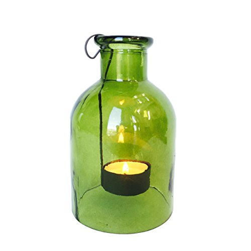 The Rustic Green Glass Tea Light Holder, Vintage Bottle Style, with Metal Tea Light Holder Included, Approx. 6