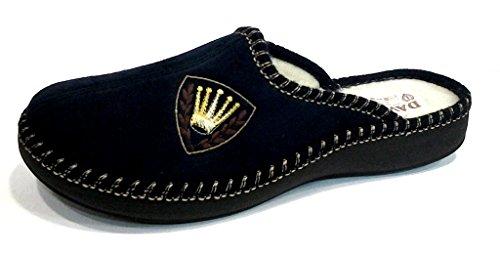 DAVEMA ciabatte pantofole lana da uomo INVERNALI mod. 1112 blu (44)