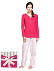 Pure Cotton Henley Neck Dobby Heart & Striped Pyjamas
