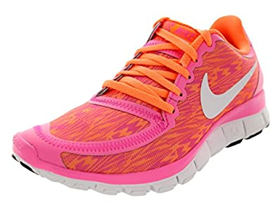 Nike Women's Free 5.0 V4 Pink Glow/White/Atomic Orange Running Shoe 6 Women US