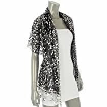 Luxury Divas Black & Silver Sheer Sparkly Sequin Long Party Shawl Wrap