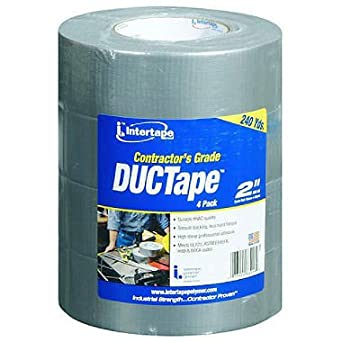 """IPG 238492 Contractor's Grade Duct Tape, 60 yards Length x 2"""" Width (Pack of 4)"""