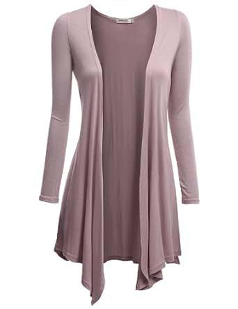 Doublju Women Simple Long Sleeve Regular Fit Knit Drape Shawl Open Cardigans INDIPINK,S