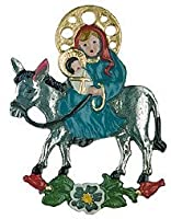 Mary & Jesus on Donkey German Pewter Christmas Ornament by Kuehn