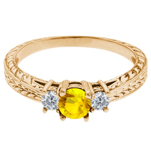 0.60 Ct Round Yellow Sapphire G/H Diamond 18K Yellow Gold 3-Stone Ring