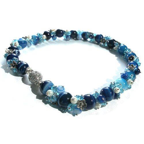17 Inch Strand Necklace of Blue with Light Blue Swirls Marble Beads with Pearl, Blue Bead and Silver Flower Clusters and a Round Silver Magnetic Clasp Inlaid All Around with Diamantes.