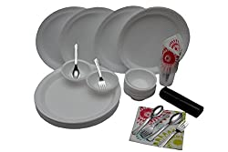 Amit Disposable laminated heavy plate,bowl,glasses,spoon,fork, napkin,12 Size[155pc]