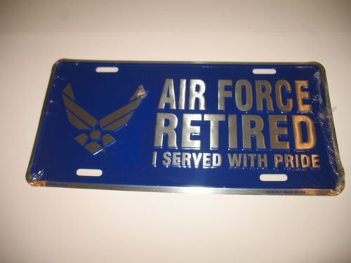 Air Force Retired USAF Blue Wings License Plate Tag (Usaf Retired License Plate Frame compare prices)