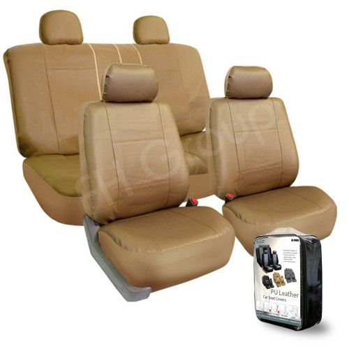 Fh-Pu005114 Exquisite Leather Car Seat Covers, Airbag Compatible And Rear Split Beige Color front-207736