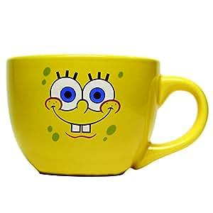 Silver Buffalo SpongeBob Face Ceramic Soup Mug, 24 oz, Yellow