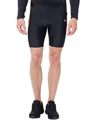 Ultrasport Pantaloni Jogging per Uomo con Funzione Quick Dry, Corto, Nero/Neon Arancione, L