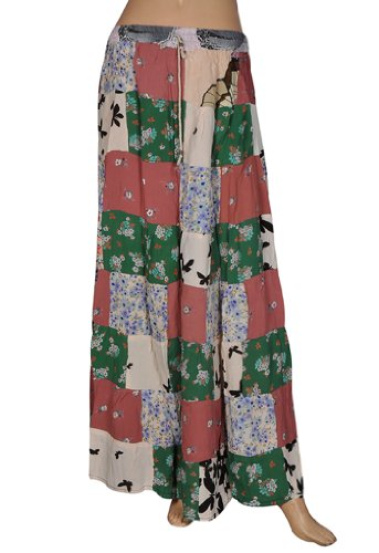 Indian Gypsy Hippie Crape Casual Wear Womens Long Skirt with Patch Work
