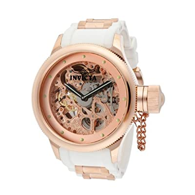 Invicta Men's 12117 Russian Diver Mechanical Rose Gold Tone Skeleton Dial White Polyurethane Watch