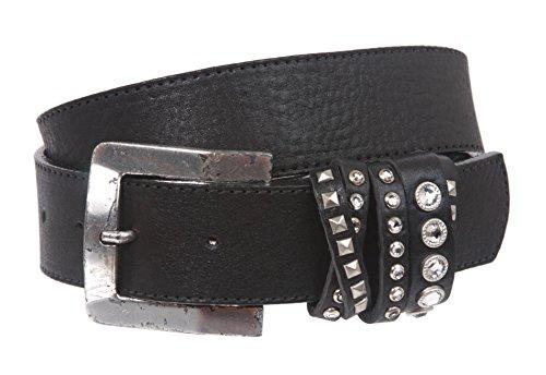 "LEATHEROCK Crossed Loop Leather Belt Size: 34"" Color: Black"