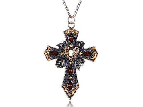 Topaz Vintage Inspired Rose Locket Carved Detail Holy Rhinestone Cross Necklace