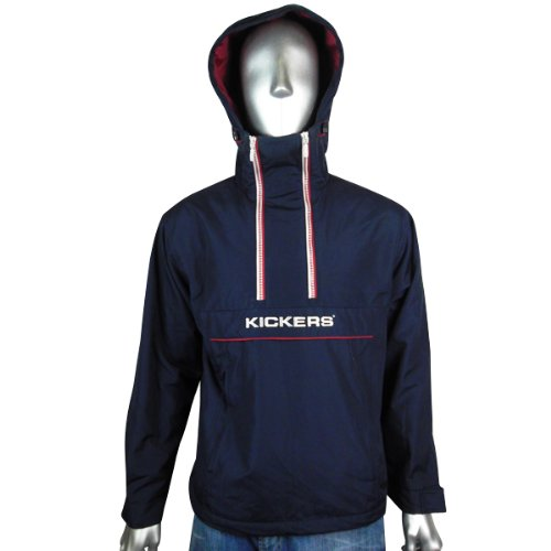 Mens Kickers Jacket Coat Navy Hooded Hood Padded Half Zip Winter Warm Size S