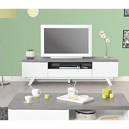 STORM Meuble TV contemporain laqué blanc + plateau mélaminé imitation béton - L 165 cm