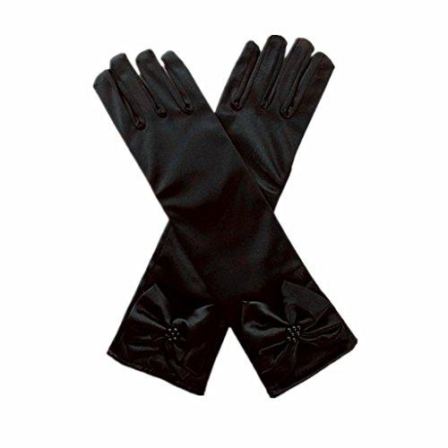 DreamHigh Kids Stretch Satin Long Finger Gloves for Flower Girl Children Party Black