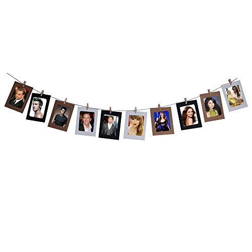 "Thg 9 Pcs 6"" Colorful Washing Line Hanging Gallery On Line Paper Photo Frames Wooden Clip Hemp Rope front-788366"