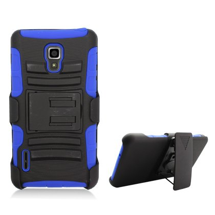 Cell Accessories For Less (Tm) For Lg Optimus F7/Us780 Black Armor W/Stand Blue Skin & Black Belt Clip + Bundle (Stylus & Micro Cleaning Cloth) - By Thetargetbuys