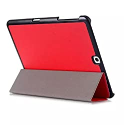 SPL Premium PU Leather Book Stand Cover for Samsung Galaxy Tab S2 Tablet 9.7inch -Red