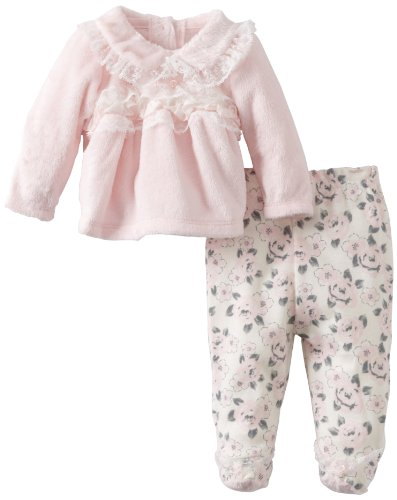 Vitamins Baby-girls Newborn 2 Piece Floral Footed Pant Set, Pink, 9 Months