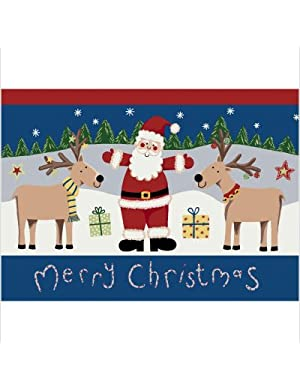 Click to buy Cabin Rugs:  Winter Santa Deer Christmas Rug from Amazon!