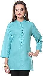Vedanta Women's Regular Fit Cotton Kurta (KICMCOP47-TEAL-L, BLUE, Large)
