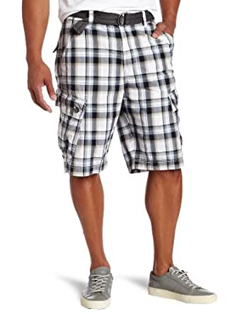 Calvin Klein Jeans Men's Film Plaid Cargo Short, White, 30