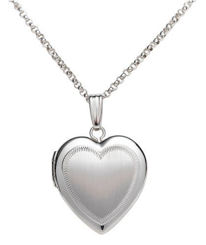 Sterling Silver Satin Finish Heart Locket, 18