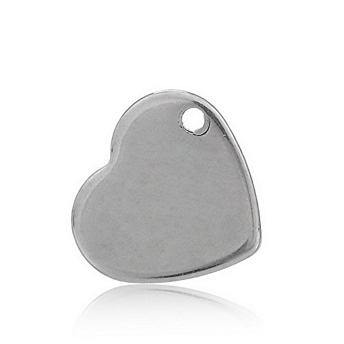 VALYRIA 50pcs Handle Polished Silver Tone Stainless Steel Blank Stamping Tags Heart Charm Pendant 11mm x 10mm(3/8