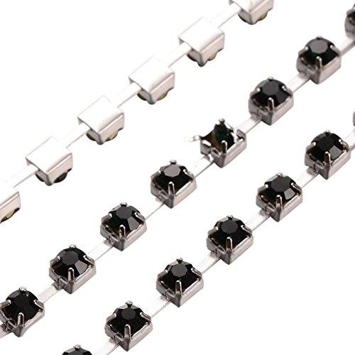 Pandahall-1m de Chaine en Laiton avec Perle Noir en Verre pour Decoration DIY Couleur Argente Epaisseur:4mm